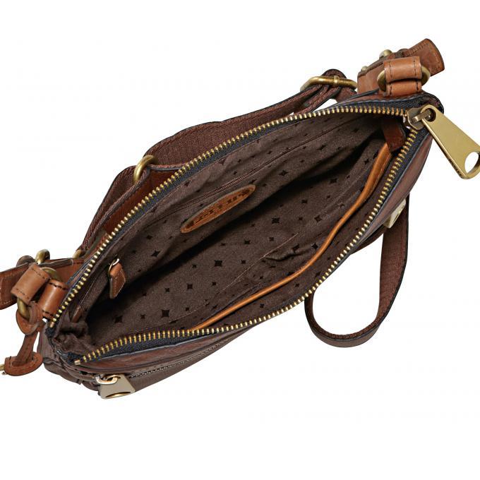 p sacoche zippee explorer cuir de vachette fossil
