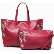 Desigual - Sac cabas rouge et broderies - Soldes cosmetiques sac portefeuille femme