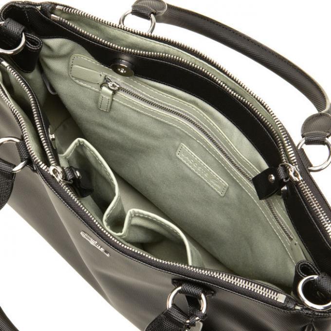 sacoche double porte classic simili cuir et sac main lacoste womancorner. Black Bedroom Furniture Sets. Home Design Ideas